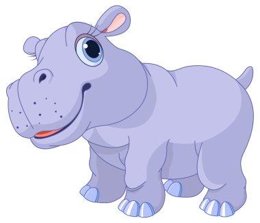 Cute hippo calf