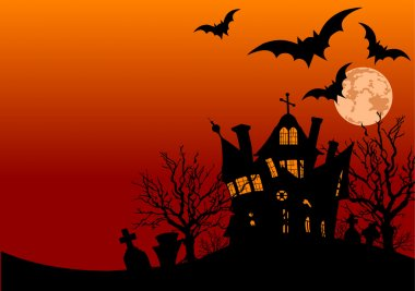 Halloween haunted house surrounded by bats