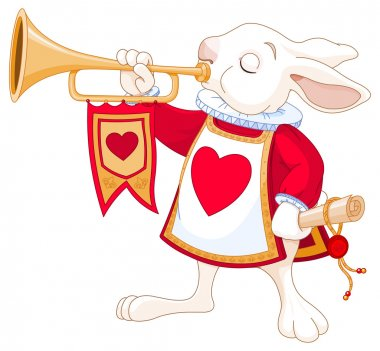Illustration of Bunny royal trumpeter stock vector
