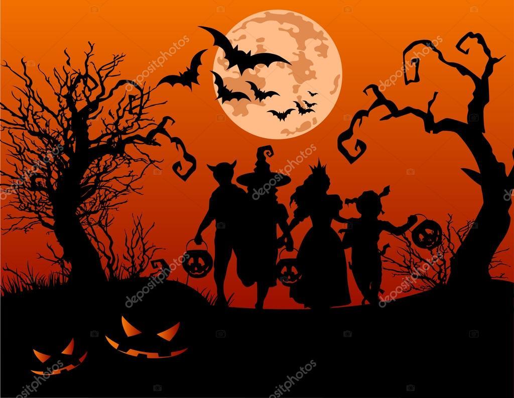 Kinder-Süßes oder Saures in Halloween-Kostüm — Stockvektor ...