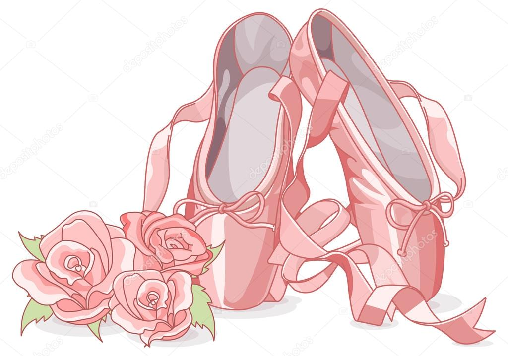 Ballet slippers with roses