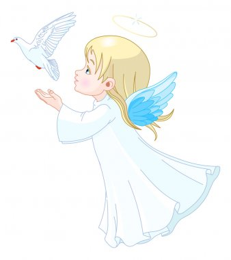 Little angel with dove