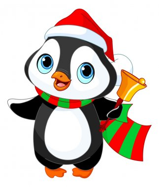 Christmas penguin with jingle bell