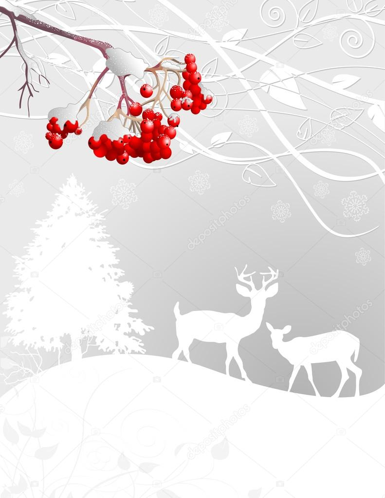 Winter forest scene background