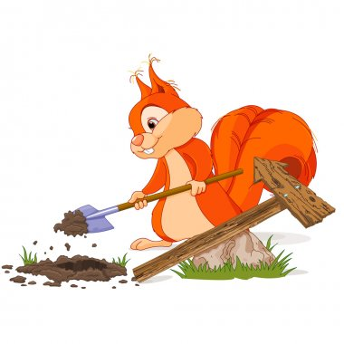 Squirrel digger with shovel