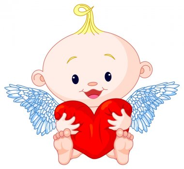 Cupid holds heart