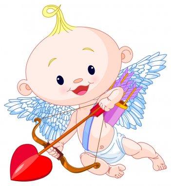 Valentine's Day Cupid aims archery clip art vector