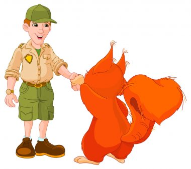 Illustration of park ranger are shaking hands with squirrel stock vector