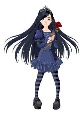 Goth girl holding rose