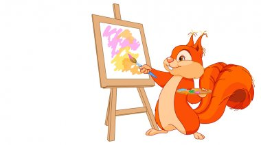 Cute squirrel draws a picture