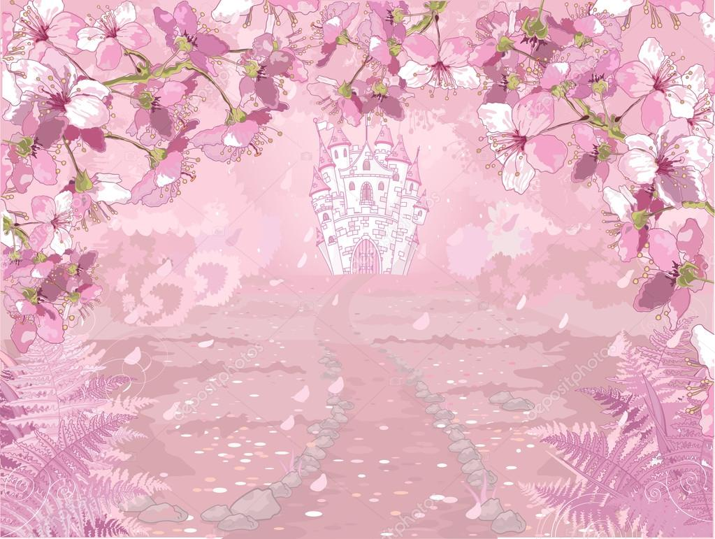 Pink fairytale castle