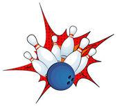 Fotografie bowlingové koule úder s klesající kolíky