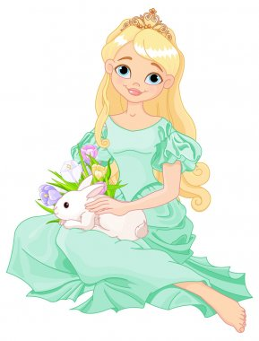 Beautiful princess holds cute rabbit