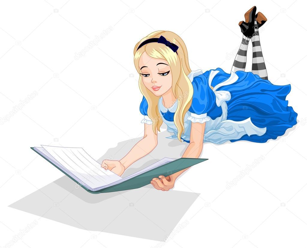 Wonderland Alice Reading A Book Stock Vector C Dazdraperma 71208647