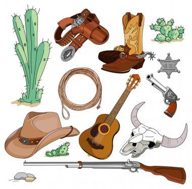 Vintage cowboy western objects set