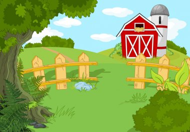 Illustration of idyllic rural landscape stock vector
