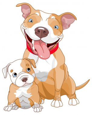 Cute Pit-bull mother and cub