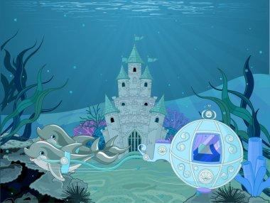 Fairytale dolphin carriage on ocean background