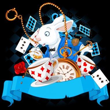 Illustration of wonderland bunny with design elements stock vector