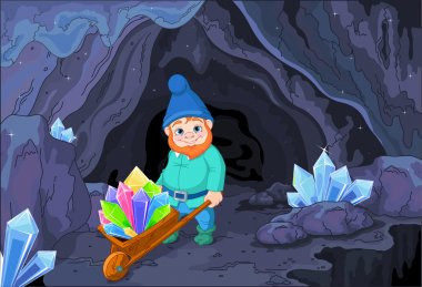 gnome carries a wheelbarrow with quartz crystals