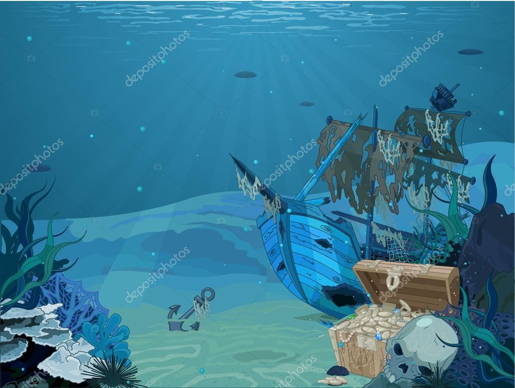 sunken sailboat on seabed background