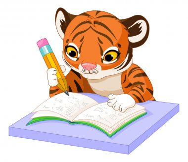 cute tiger cub studying