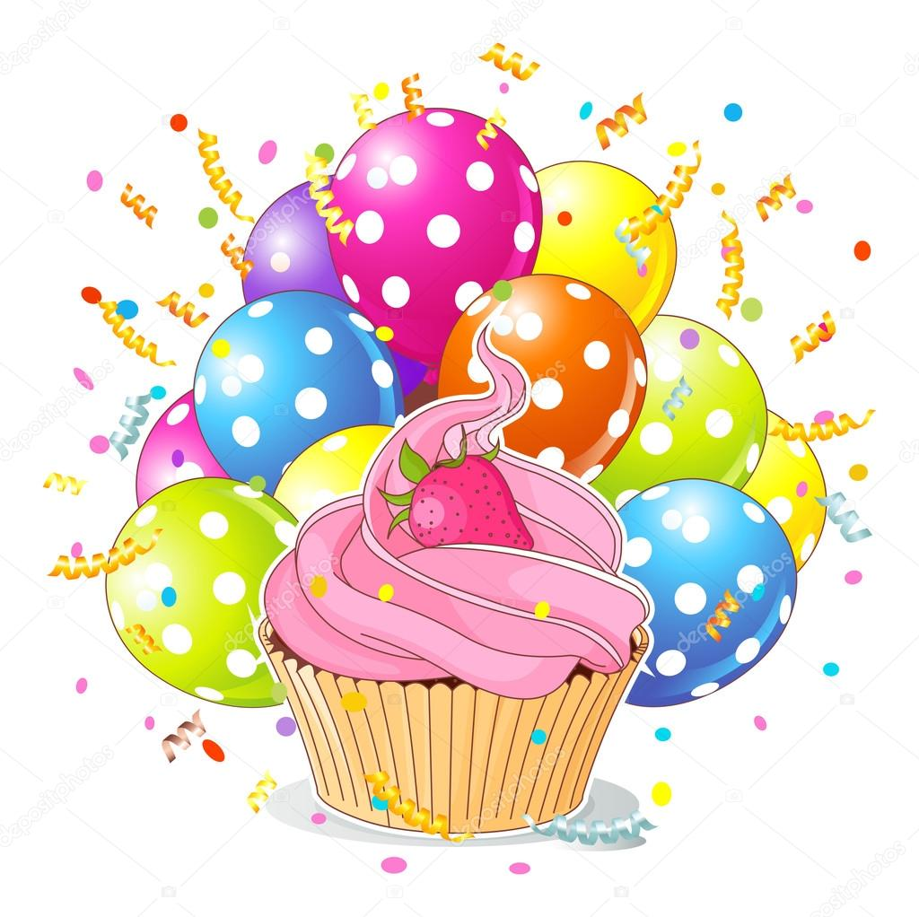 birthday cupcake with balloons and confetti