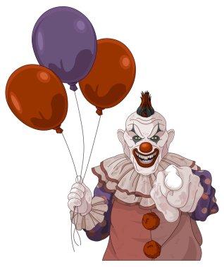 clown holds balloons