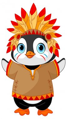 Penguin in Native American costume