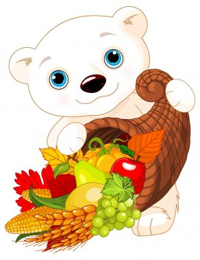 Bear Holds vegetables and fruits
