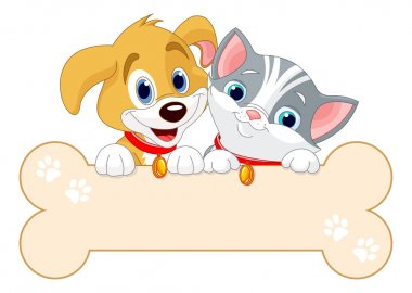 Cat and dog are holding sign (add your own message) clip art vector