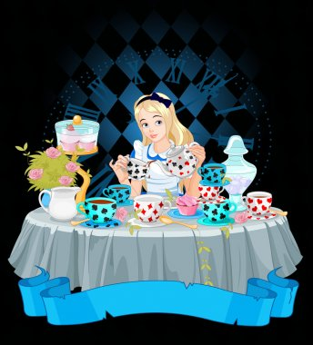 Alice pours a cup of tea from the kettle stock vector