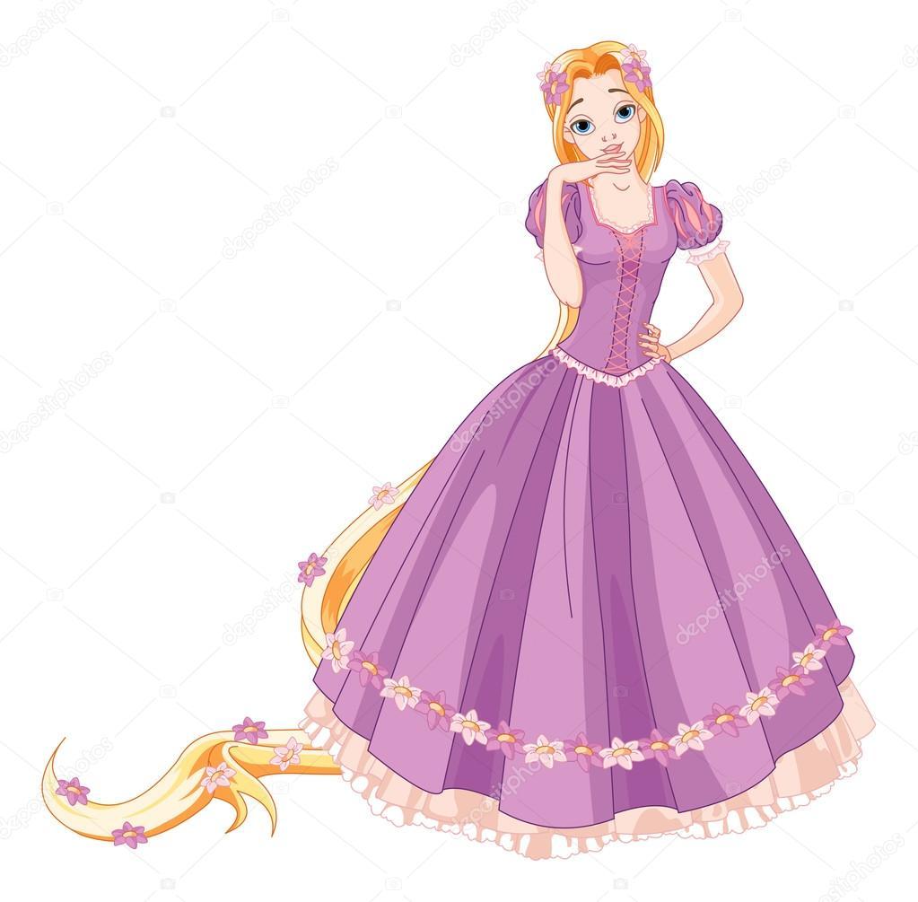 chica vestida como Rapunzel — Archivo Imágenes Vectoriales ...