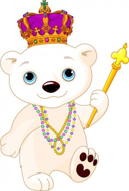 polar bear in Mardi Gras costume
