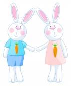 Fotografie Two bunnies holding hands