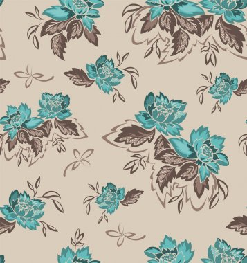 Seamless background with turquoise flowers