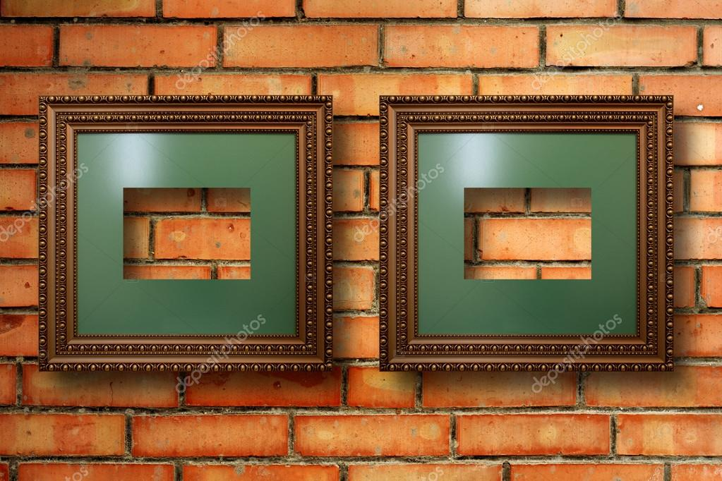Vintage wooden frames for pictures on old brick wall — Stock Photo ...
