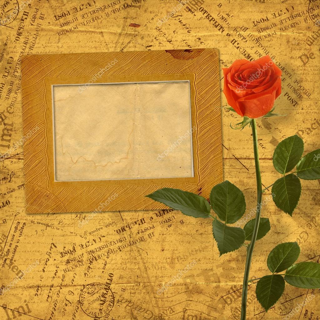 Vintage aged background, with old Postcard, envelopes, frames an