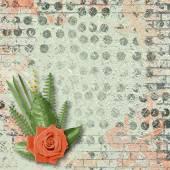 Vintage karta pro blahopřání a pozvánky s kyticí