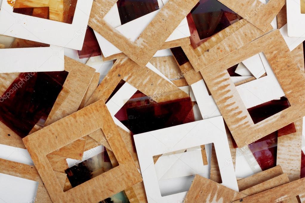 set of vintage old slides photos and film stock photo loraliu