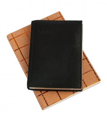 Notebook in black leather cover isolated