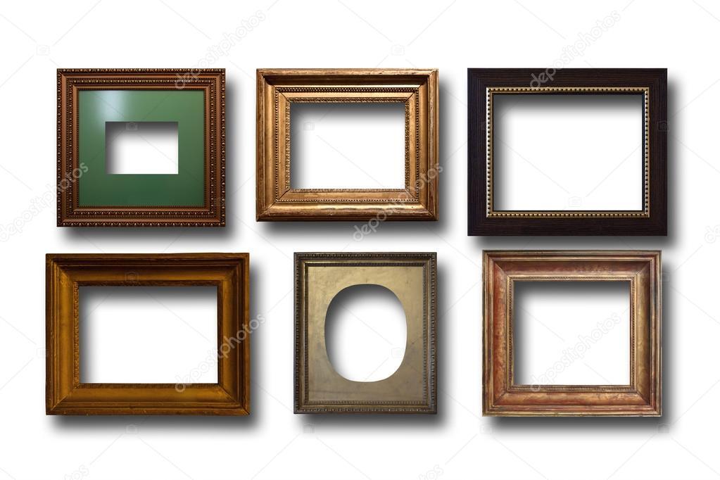 Dorado de marcos de madera para cuadros sobre fondo aislado — Foto ...