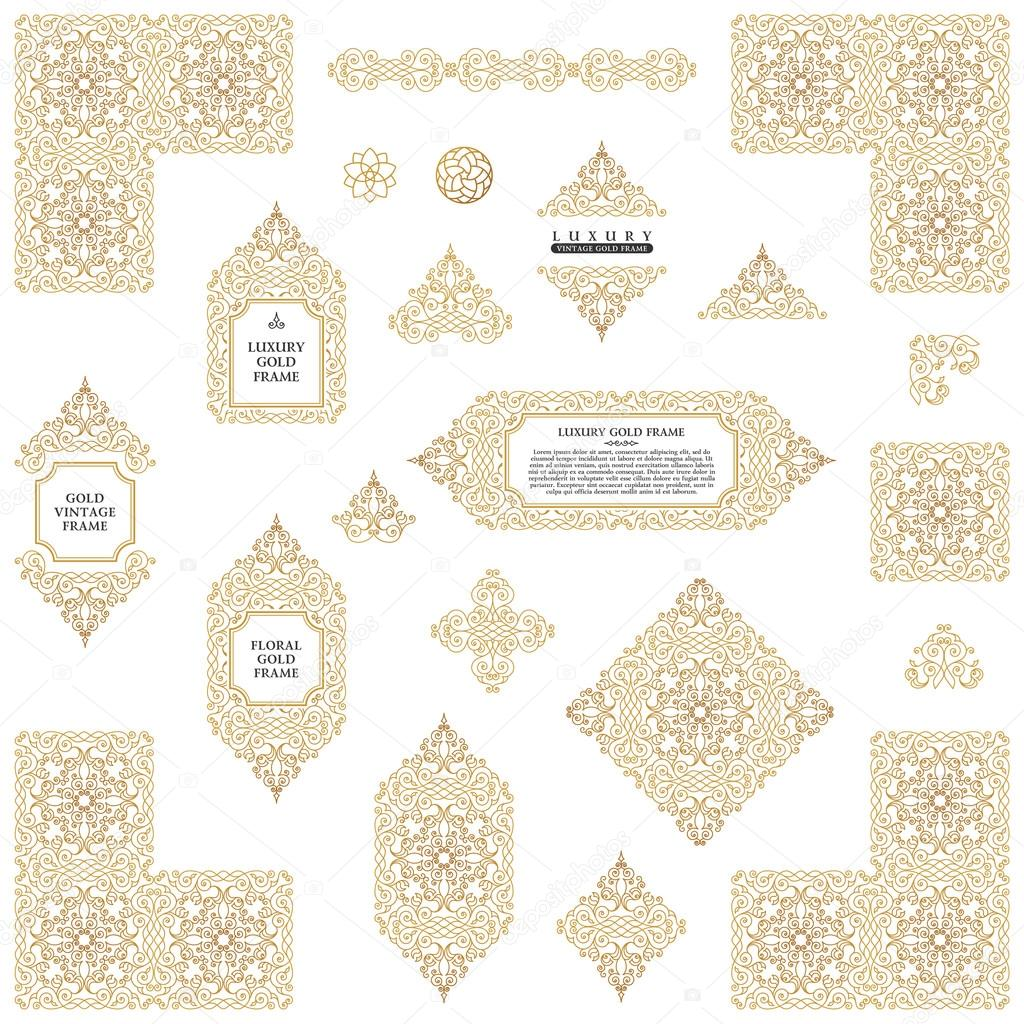 Arabic vector set of frames lines art design templates muslim arabic vector set of frames and lines of art design template muslim gold outline elements and emblems eastern floral frame logos line pattern for menu stopboris Images