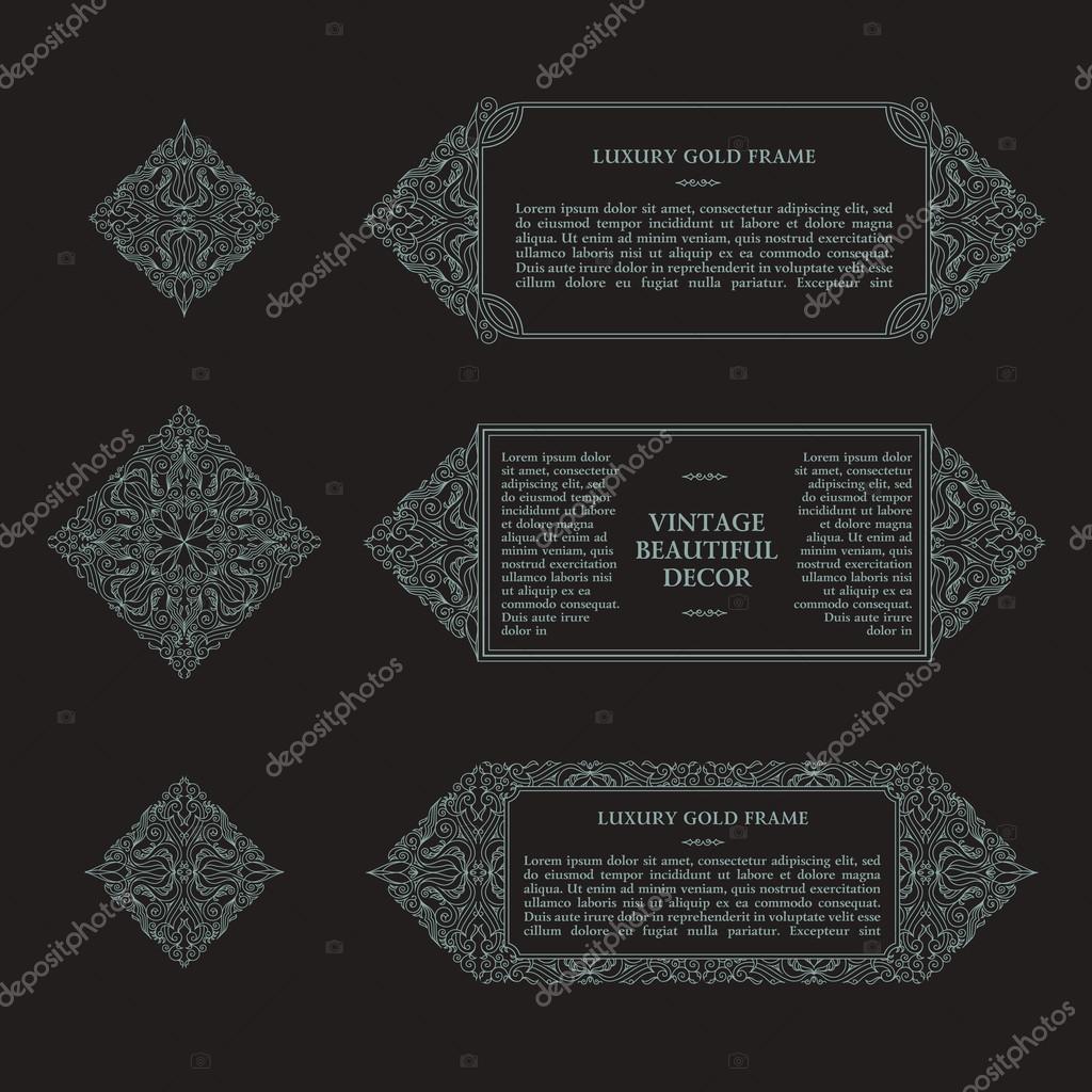 Arabic vector set of frames lines art design templates muslim gray muslim gray outline elements and emblems eastern floral frame logos line pattern for menu postcard restaurant wedding invitation vetor por extezy stopboris Gallery