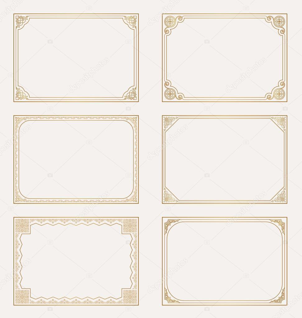 decorative vector vintage frames and borders set ストックベクター