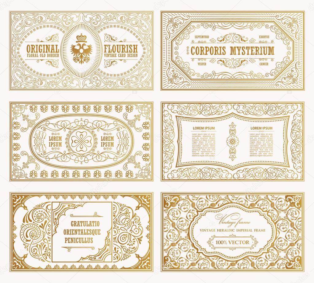 Vintage set tarjetas de retro. Invitación de la boda de plantilla ...