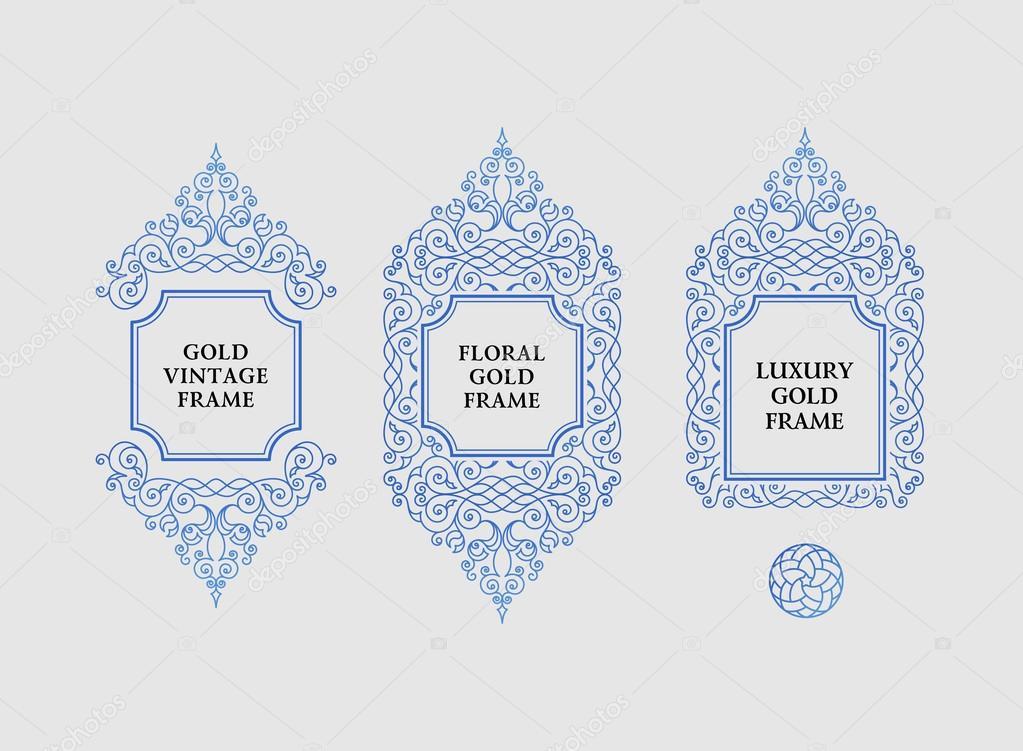 Arabic vector set of frames lines art design templates muslim muslim outline elements and emblems eastern floral frame logos line pattern for menu postcard restaurant wedding invitation vetor de extezy stopboris Gallery