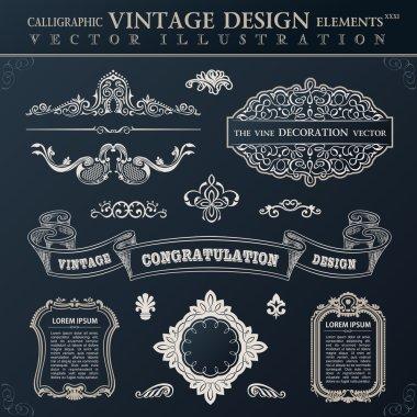 Calligraphic black elements vintage Congratulation and page deco