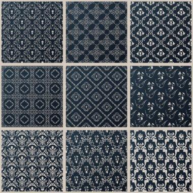 Vector seamless vintage backgrounds set black baroque Pattern