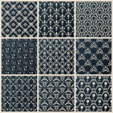 Vector seamless vintage backgrounds set black baroque wallpaper